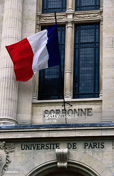 Quartier, Latin Quarter Sorbonne, Universite de Paris, French flag.