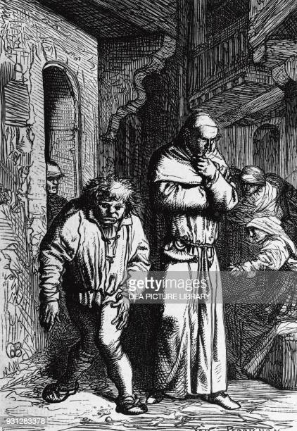 Quasimodo and Claude Frollo illustration for The Hunchback of NotreDame novel by Victor Hugo engraving by Yon et Perrichon after a drawing by Gustave...