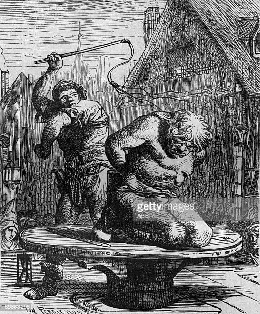 Quasimodo is flogged engraving by Von perrichon illustration for book NotreDame de Paris by Victor Hugo 1877