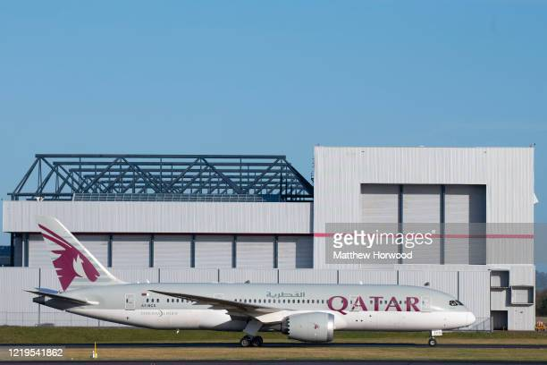 Quatar airways Boeing 787-8 Dreamliner plane at Cardiff Airport on January 18, 2020 in Cardiff, United Kingdom.