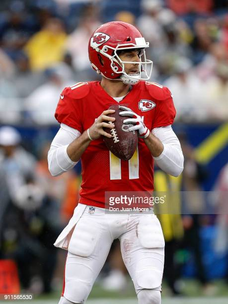 Quaterback Alex Smith of the Kansas City Chiefs from the AFC Team looks to pass during the NFL Pro Bowl Game at Camping World Stadium on January 28...