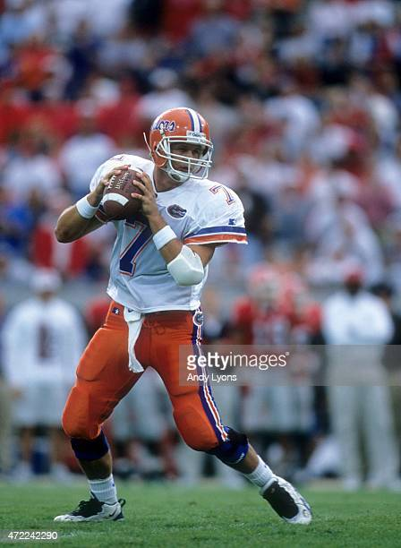 Quaterback Danny Wuerffel of the Florida Gators looks to throw a pass during an NCAA game against the Georgia Bulldogs on Novmeber 2 1996 at...