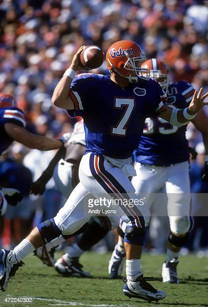 Quaterback Danny Wuerffel of the Florida Gators looks to throw during an NCAA game against the South Carolina Gamecocks on November 16 1996 at Ben...