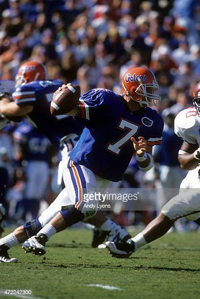 Quaterback Danny Wuerffel of the Florida Gators runs with the ball during an NCAA game against the South Carolina Gamecocks on November 16 1996 at...