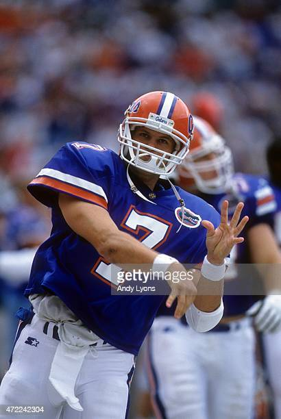 Quaterback Danny Wuerffel of the Florida Gators warmsup before an NCAA game against the South Carolina Gamecocks on November 16 1996 at Ben Hill...