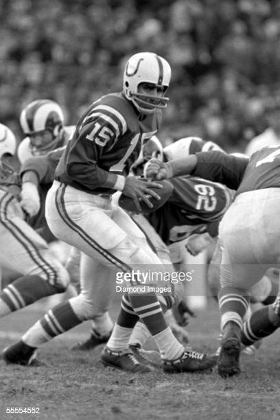 Quaterback Earl Morrall of the Baltimore Colts turns to hand the ball off against the Los Angeles Rams during a game on October 27 1968 at Memorial...