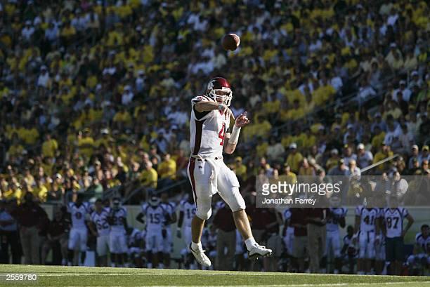 Quaterback Matt Kegel of the Washington State University Cougars throws a pass against the University of Oregon Ducks at Autzen Stadium on September...