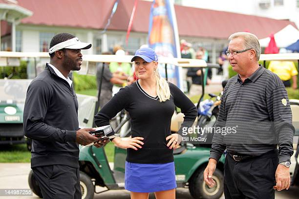 NFL Quaterback Michael Vick LPGA Player Amanda Blumenherst and host Ron Jaworski at the 28th Annual Celebrity Golf Challenge Hosted By Ron Jaworski...
