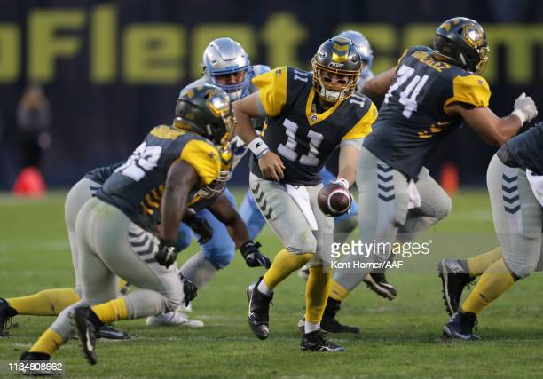 Quaterback Mike Bercovici of the San Diego Fleet looks to hand off during the second half of the Alliance of American Football game against the Salt...