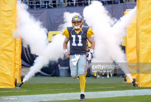 Quaterback Mike Bercovici of the San Diego Fleet takes the field during player introductions before the Alliance of American Football game against...