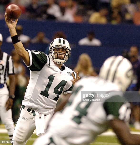Quaterback Ricky Ray of the New York Jets completes a pass to running back Little John Flowers against the New Orleans Saints during a preseason NFL...