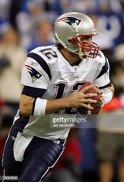 Quaterback Tom Brady of the New England Patriots rolls out of the pocket during the AFC Championship Game against the Indianapolis Colts on January...