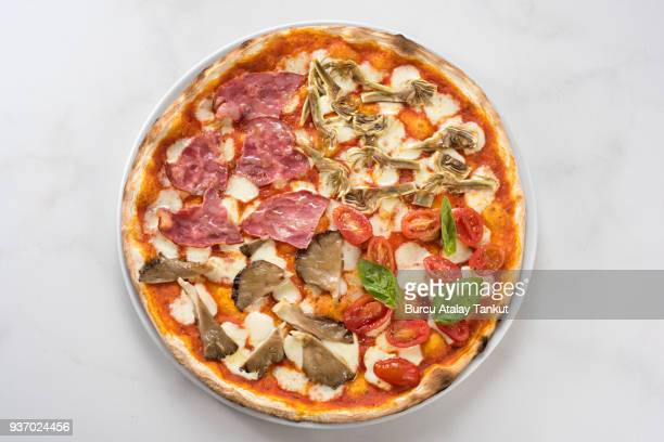 quatro stagioni italian pizza - four seasons stock pictures, royalty-free photos & images