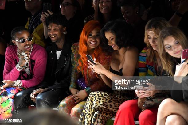 Quavo 21 Savage Hennessy Carolina Cardi B Paris Jackson and Gigi Hadid attend the Jeremy Scott front row during New York Fashion Week The Shows at...