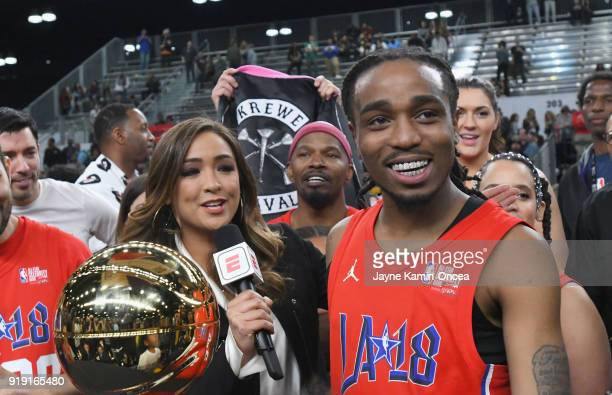 Quavo accepts the 'NBA Celebrity Game MVP Trophy' during the 2018 NBA AllStar Game Celebrity Game at Los Angeles Convention Center on February 16...