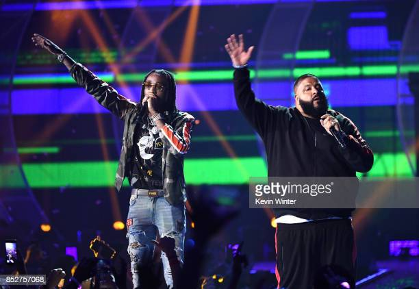 Quavo and DJ Khaled perform onstage during the 2017 iHeartRadio Music Festival at TMobile Arena on September 23 2017 in Las Vegas Nevada