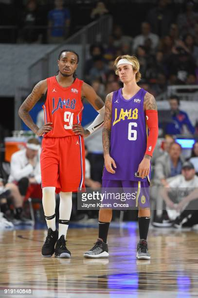 Quavo and Justin Bieber play during the 2018 NBA All-Star Game Celebrity Game at Los Angeles Convention Center on February 16, 2018 in Los Angeles,...