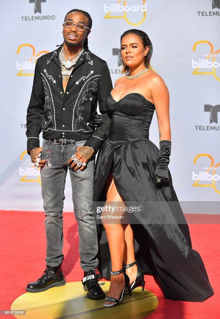 Quavo (L) and Karol G attend the 2018 Billboard Latin Music Awards at the Mandalay Bay Events Center on April 26, 2018 in Las Vegas, Nevada.