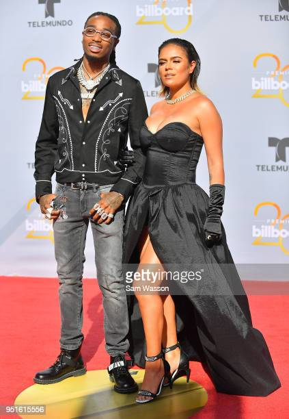 Quavo and Karol G attend the 2018 Billboard Latin Music Awards at the Mandalay Bay Events Center on April 26 2018 in Las Vegas Nevada