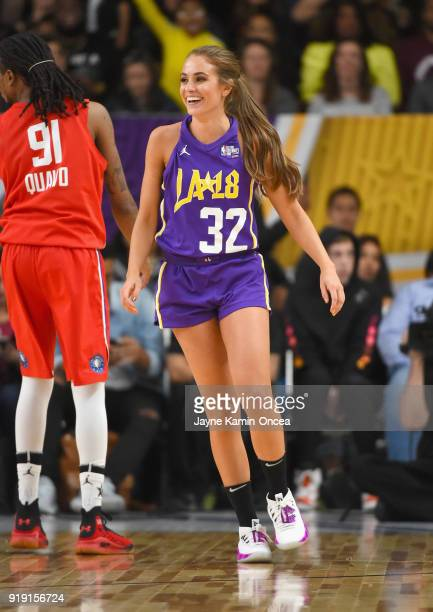 Quavo and Rachel DeMita play during the 2018 NBA AllStar Game Celebrity Game at Los Angeles Convention Center on February 16 2018 in Los Angeles...