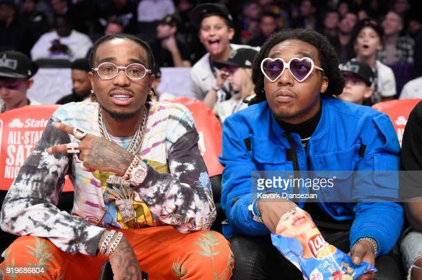 Quavo and Takeoff of Migos attend the 2018 Taco Bell Skills Challenge at Staples Center on February 17 2018 in Los Angeles California
