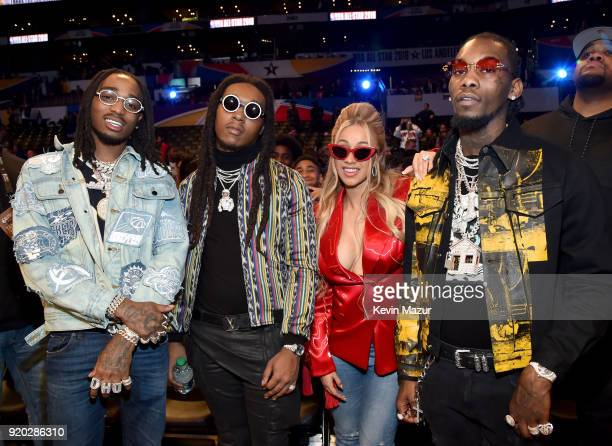 Quavo and Takeoff of Migos, Cardi B, and Offset of Migos attend the 67th NBA All-Star Game: Team LeBron Vs. Team Stephen at Staples Center on...