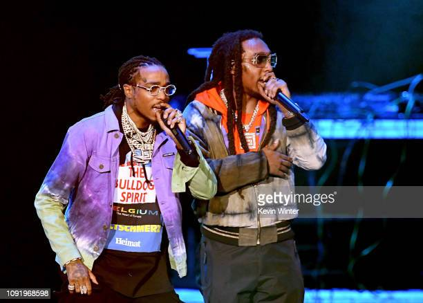 Quavo and Takeoff of Migos perform onstage during Bud Light Super Bowl Music Fest / EA SPORTS BOWL at State Farm Arena on January 31 2019 in Atlanta...