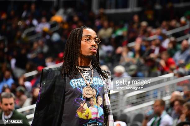 Quavo attends the game between the Boston Celtics and against the Atlanta Hawks on November 23 2018 at State Farm Arena in Atlanta Georgia NOTE TO...