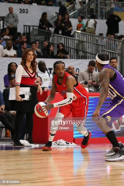 Quavo dribbles the ball during the NBA AllStar Celebrity Game presented by Ruffles as a part of 2018 NBA AllStar Weekend at the Los Angeles...