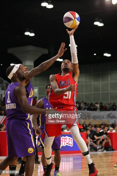 Quavo drives to the basket during the NBA AllStar Celebrity Game presented by Ruffles as a part of 2018 NBA AllStar Weekend at the Los Angeles...