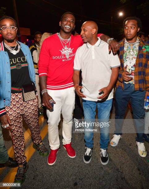 Quavo Gucci Mane Alex Gidewon and Takeoff attend Birthday Bash Celebration Hosted by Lil Baby Trey Songz and YFN Lucci at Compound on June 17 2018 in...