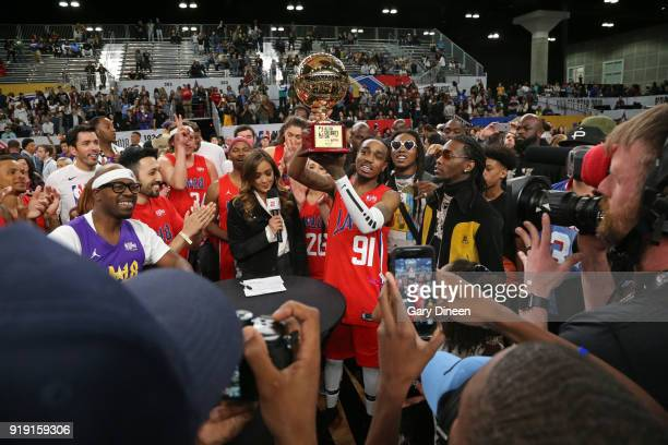Quavo holds the MVP Trophy after the NBA AllStar Celebrity Game presented by Ruffles as a part of 2018 NBA AllStar Weekend at the Los Angeles...