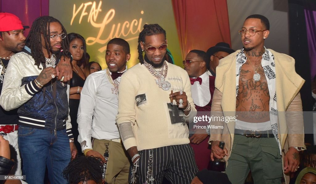 Quavo, Karen Civil, YFN Lucci, Offset and Trouble attend Trap Du Soleil Celebrating YFN Lucci on February 13, 2018 in Atlanta, Georgia.