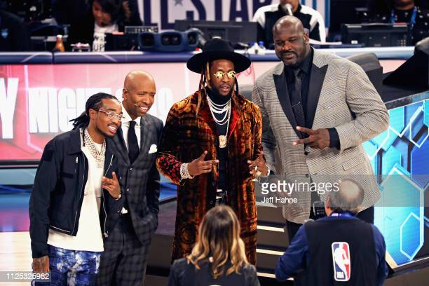 Quavo Kenny Smith 2 Chainz and Shaquille O'Neal attend the 2019 State Farm AllStar Saturday Night at Spectrum Center on February 16 2019 in Charlotte...