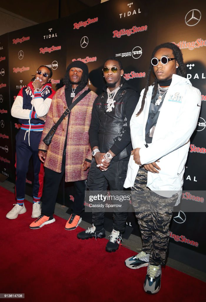 Quavo, NFL player for New Orleans Saints Alvin Kamara, Offset and Takeoff at Rolling Stone Live: Minneapolis presented by Mercedes-Benz and TIDAL. Produced in partnership with Talent Resources Sports on February 2, 2018 in Minneapolis, Minnesota.