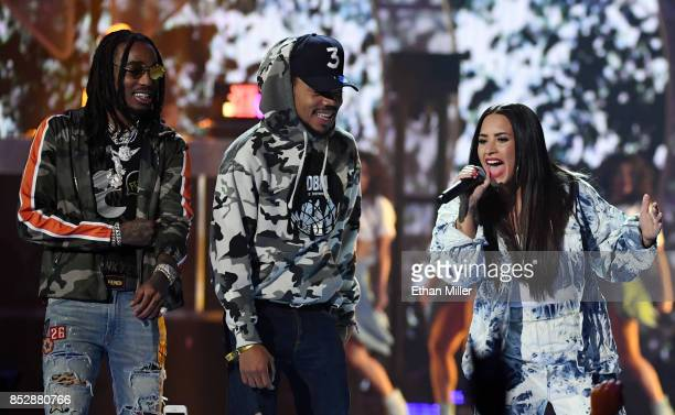 Quavo of Migos Chance the Rapper and Demi Lovato perform during the 2017 iHeartRadio Music Festival at TMobile Arena on September 23 2017 in Las...