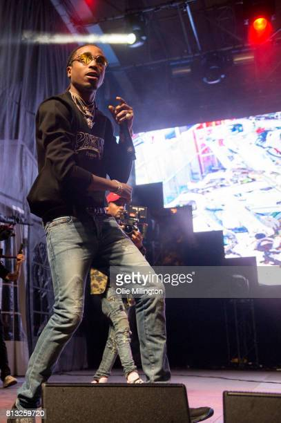 Quavo of Migos performs a headline show on the Lotto Stage in the Parc de la Francophonie during Day 6 of the 50th Festival d'ete de Quebec on July...