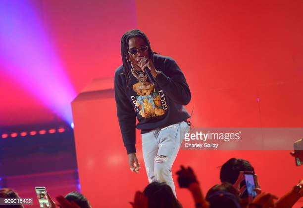 Quavo of Migos performs onstage at iHeartRadio album release party with Migos presented by MAGNUM Large Size Condoms at iHeartRadio Theater on...