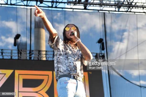 Quavo of Migos performs onstage during the Daytime Village Presented by Capital One at the 2017 HeartRadio Music Festival at the Las Vegas Village on...