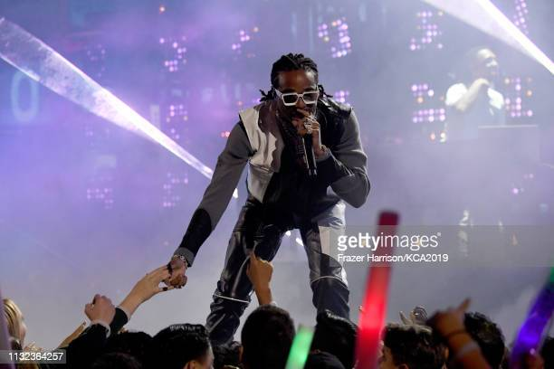 Quavo of Migos performs onstage Nickelodeon's 2019 Kids' Choice Awards at Galen Center on March 23 2019 in Los Angeles California