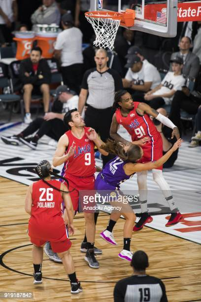 Quavo of Team Clippers fouls Rachel DeMita of Team Lakers during the 2018 NBA AllStar Celebrity Game as part of AllStar Weekend at the Los Angeles...