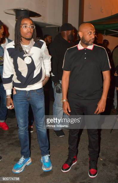Quavo of The Group Migos and Alex Gidewon attend All Star weekend Migos Album Release Party at Boulevard3 on February 19 2018 in Hollywood California