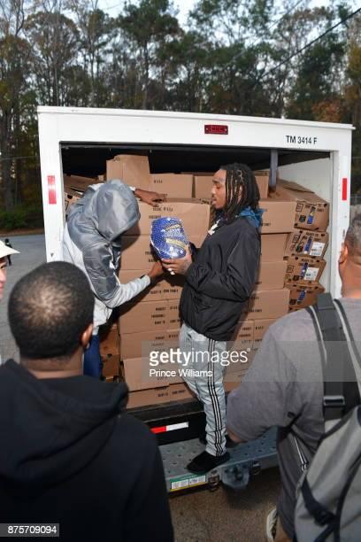 Quavo of The Group Migos attends Migos Turkey Drive at 799 Hutchins Road on November 17 2017 in Atlanta Georgia