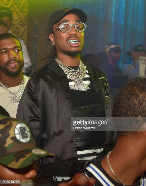 Quavo of The Group Migos attends Nipsey Hussle Album Release Party for Victor Lap at Medusa Lounge on February 25 2018 in Atlanta Georgia