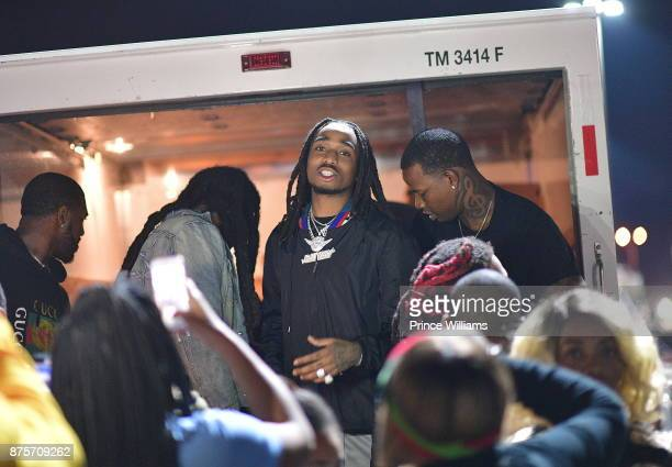 Quavo of the Group Migos attends The Migos Turkey Drive at 799 Hutchins Road on November 17 2017 in Atlanta Georgia
