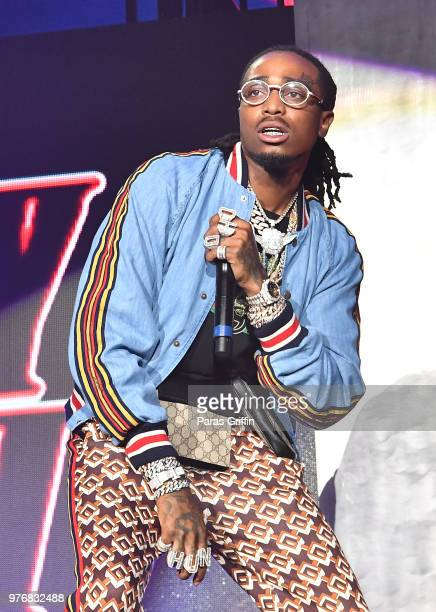 Quavo of the Migos performs on stage during Hot 1079 Birthday Bash at Cellairis Amphitheatre at Lakewood on June 16 2018 in Atlanta Georgia