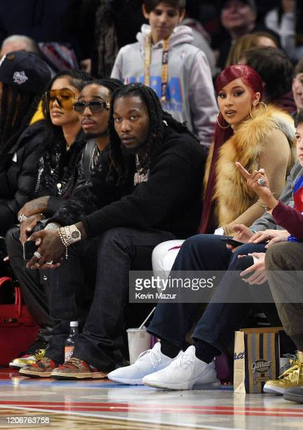 Quavo Offset and Cardi B attend the 69th NBA AllStar Game at United Center on February 16 2020 in Chicago Illinois