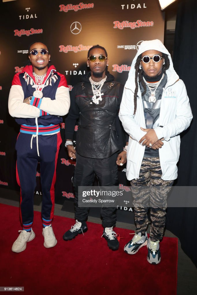 Quavo, Offset and Takeoff of Migos at Rolling Stone Live: Minneapolis presented by Mercedes-Benz and TIDAL. Produced in partnership with Talent Resources Sports on February 2, 2018 in Minneapolis, Minnesota.