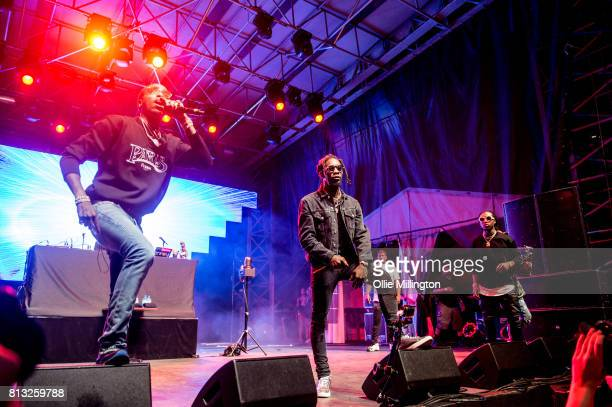 Quavo Offset and Takeoff of Migos perform a headline show on the Lotto Stage in the Parc de la Francophonie during Day 6 of the 50th Festival d'ete...