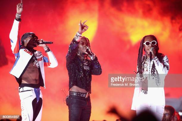 Quavo Offset and Takeoff of Migos perform onstage at 2017 BET Awards at Microsoft Theater on June 25 2017 in Los Angeles California